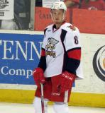 Anthony Mantha stands near the boards during pre-game warmups before a Grand Rapids Griffins game.