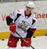 Louis-Marc Aubry skates near the end boards during pre-game warmups before a Grand Rapids Griffins game.