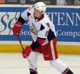 Anthony Mantha takes a shot during pre-game warmups before a Grand Rapids Griffins game.