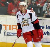 Anthony Mantha skates near the boards during pre-game warmups before a Grand Rapids Griffins game.
