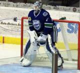 Jacob Markstrom of the Utica Comets stands in his crease at the start of a game against the Grand Rapids Griffins.