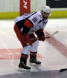 Jeff Hoggan gets set for the opening faceoff of a Grand Rapids Griffins game.