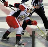 Dylan Larkin takes the opening faceoff of a Grand Rapids Griffins game.