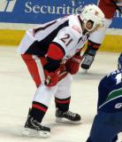 Andy Miele gets set for a faceoff during a Grand Rapids Griffins game.