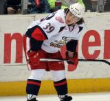 Tyler Bertuzzi waits for a line change during a stop in play in a Grand Rapids Griffins game.