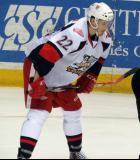 Louis-Marc Aubry gets set for a faceoff during a Grand Rapids Griffins game.