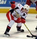 Dylan Larkin takes a faceoff during a Grand Rapids Griffins game.