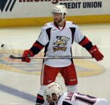 Nick Jensen stands at the blue line before a faceoff during a Grand Rapids Griffins game.