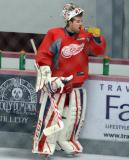 Jake Paterson takes a drink of Gatorade at the bench during a break between goalie drills at the Red Wings' 2015 Development Camp.