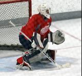 Joren van Pottelberghe moves across the crease during a goalie drill at the Red Wings' 2015 Development Camp.