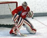 Jake Paterson gets set in his crease during a goalie drill at the Red Wings' 2015 Development Camp.