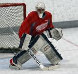 Joren van Pottelberghe gets set at the top of the crease during a goalie drill at the Red Wings' 2015 Development Camp.