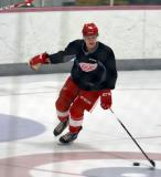 Vili Saarijarvi skates with the puck during a drill at the Red Wings' 2015 Development Camp.