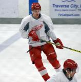 Julius Vahatalo skates in the neutral zone during a drill at the Red Wings' 2015 Development Camp.