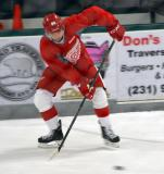 Jin-Hui Ahn passes the puck during a drill at the Red Wings' 2015 Development Camp.
