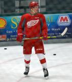 Evgeny Svechnikov stands on the ice during a drill at the Red Wings' 2015 Development Camp.