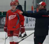 Dylan Larkin receives instruction at the start of a drill at the Red Wings' 2015 Development Camp.