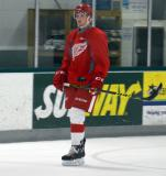 Chase Pearson skates near the boards during a drill at the Red Wings' 2015 Development Camp.