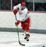 Hampus Melen stickhandles during a drill at the Red Wings' 2015 Development Camp.
