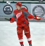 Vili Saarijarvi skates during warmups before a scrimmage at the Red Wings' 2015 Development Camp.