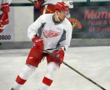 Mike McKee skates during warmups before a scrimmage at the Red Wings' 2015 Development Camp.