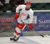Tyson Spink skates at the blue line during warmups before a scrimmage at the Red Wings' 2015 Development Camp.