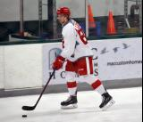 Adam Lidstrom skates with the puck during warmups before a scrimmage at the Red Wings' 2015 Development Camp.