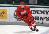 Nick Azar skates at the blue line during warmups before a scrimmage at the Red Wings' 2015 Development Camp.