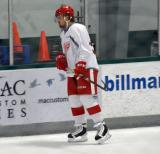 Axel Holmstrom skates near the boards during warmups before a scrimmage at the Red Wings' 2015 Development Camp.