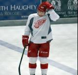 Joe Hicketts stands near the blue line prior to the start of a scrimmage at the Red Wings' 2015 Development Camp.