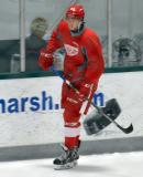 Hampus Melen skates along the boards during a scrimmage at the Red Wings' 2015 Development Camp.