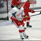Axel Holmstrom skates in the offensive zone during a scrimmage at the Red Wings' 2015 Development Camp.