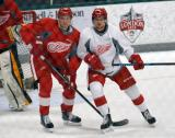 Kevin Lidstrom and Adam Lidstrom come together in front of the net during a scrimmage at the Red Wings' 2015 Development Camp.