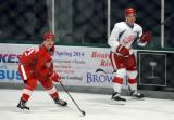 Vili Saarijarvi and Dylan Larkin skate near the boards during a scrimmage at the Red Wings' 2015 Development Camp.