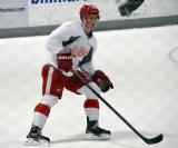 Dylan Larkin skates in his own zone during a scrimmage at the Red Wings' 2015 Development Camp.