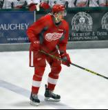 Jalen Chatfield stands at the blue line during a scrimmage at the Red Wings' 2015 Development Camp.