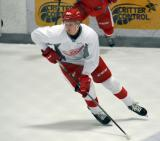 Christoffer Ehn skates in the offensive zone during a scrimmage at the Red Wings' 2015 Development Camp.