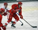 Hampus Melen skates with the puck during a scrimmage at the Red Wings' 2015 Development Camp.