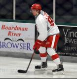 Adam Lidstrom skates in the opposition zone during a scrimmage at the Red Wings' 2015 Development Camp.