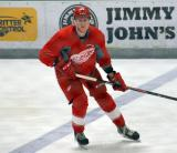 Marc McNulty retreats across his own blue line during a scrimmage at the Red Wings' 2015 Development Camp.