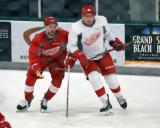 Anthony Greco and Alex Globke fight for position during a scrimmage at the Red Wings' 2015 Development Camp.