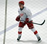 Dylan Larkin skates in the neutral zone during a scrimmage at the Red Wings' 2015 Development Camp.