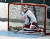 Jake Paterson slides backwards into the goal on a shootout attempt during a scrimmage at the Red Wings' 2015 Development Camp.