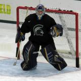 Jeff Lerg gets set in his crease during a session at the 2015 MSU Pro Camp.
