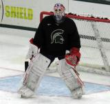 Joel Martin stands at the edge of his crease during a session at the 2015 MSU Pro Camp.