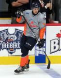 Zack Peters skates at the blue line during pre-game warmups before a Flint Firebirds game.