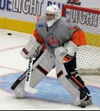 Kyle Keyser gets set at the top of the crease during pre-game warmups before a Flint Firebirds game.