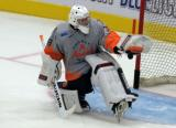Kyle Keyser makes a stop during pre-game warmups before a Flint Firebirds game.