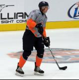 Alex Peters skates in the neutral zone during pre-game warmups before a Flint Firebirds game.