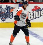Vili Saarijarvi skates prior to the start of a Flint Firebirds game.